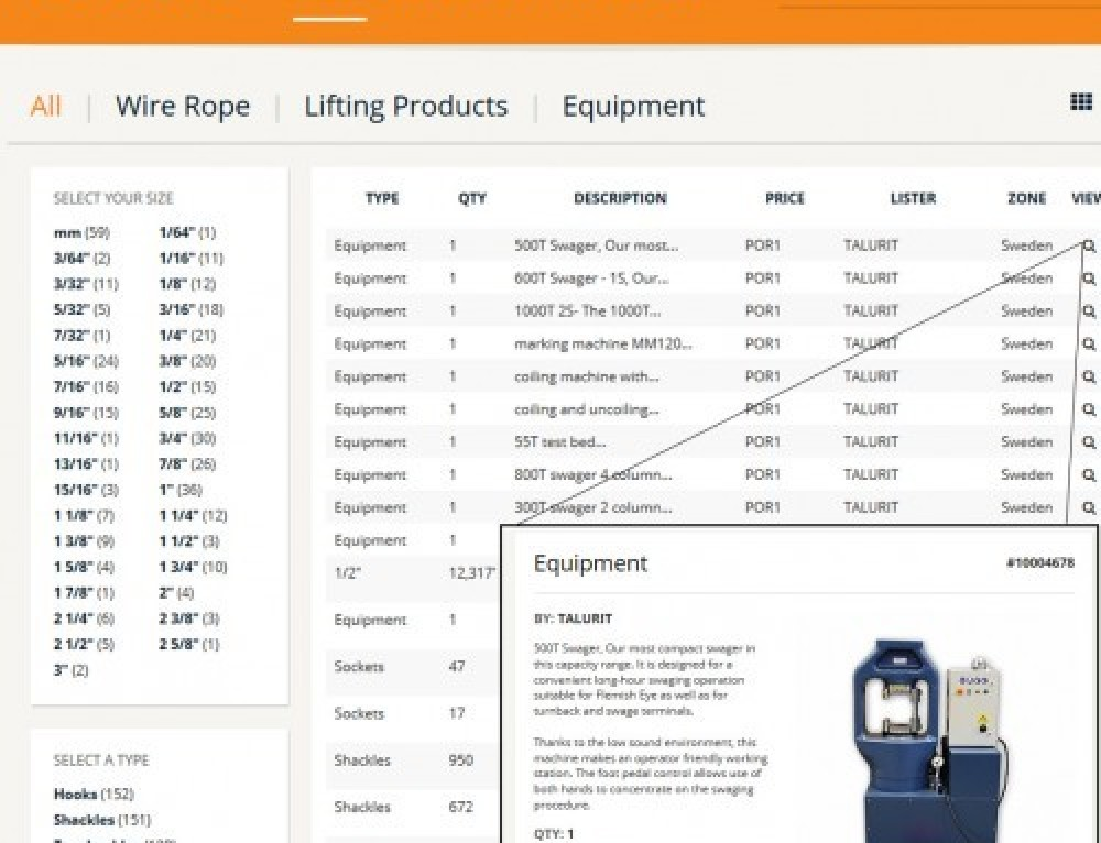 Machines available at Wire Rope Exchange!